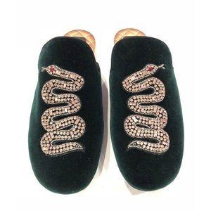 Gucci crystal snake velvet Lawrence mules like new